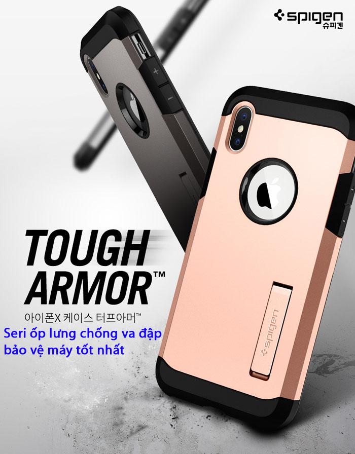 Ốp lưng Spigen Tough Armor chống va đập từ Mỹ cho Iphone X và Galaxy Note 8
