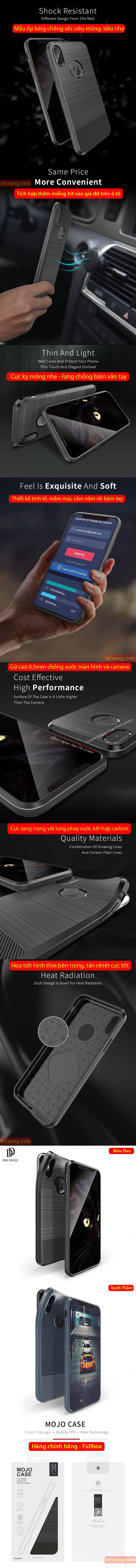 Ốp lưng iPhone X / Xs Dux Ducis Mojo Case nhựa mềm, chống sốc 6