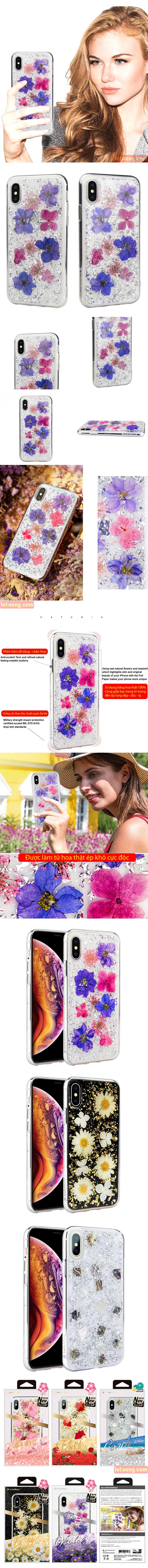 Ốp lưng iPhone Xs Max SwitchEasy Flash 3D - Hoa thật 100% cực độc 1