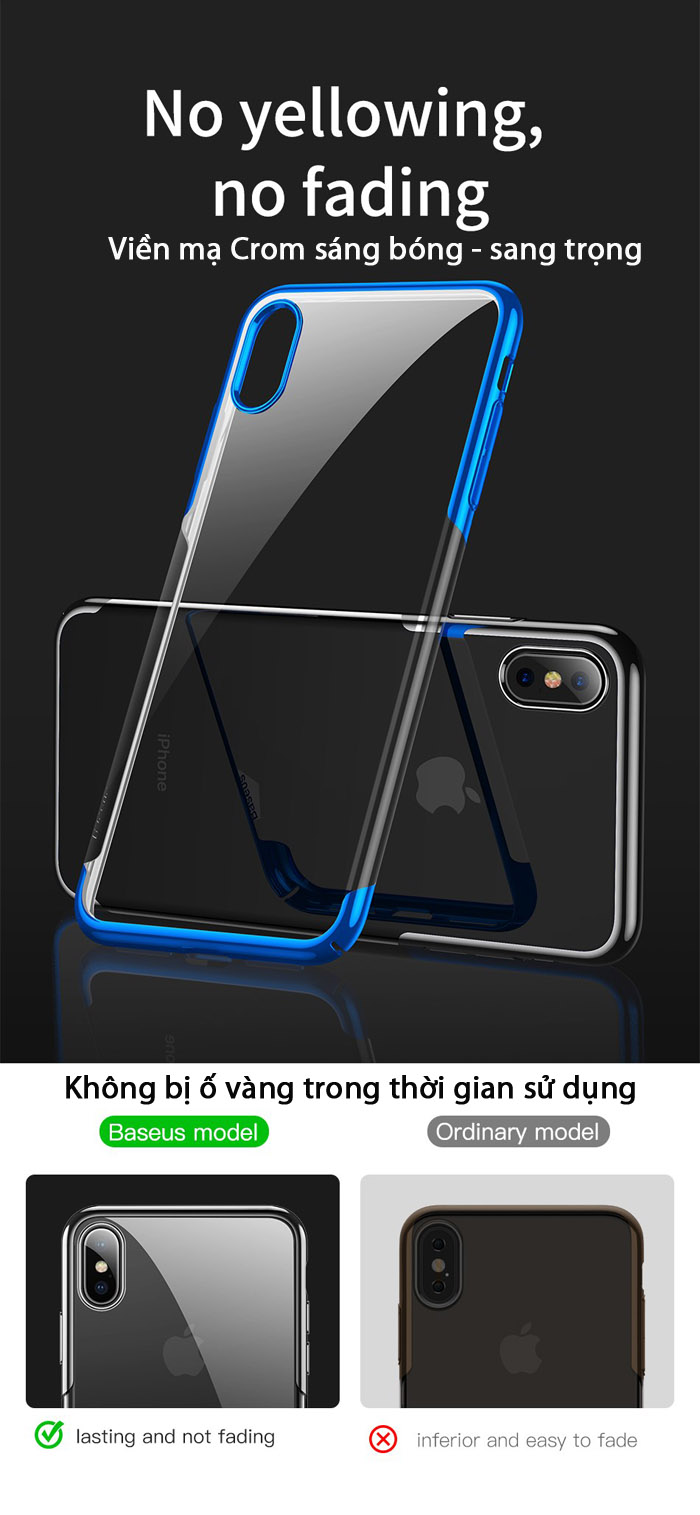 Ốp lưng iPhone Xs Max Baseus Glitter trong suốt + viền mạ Crom 1