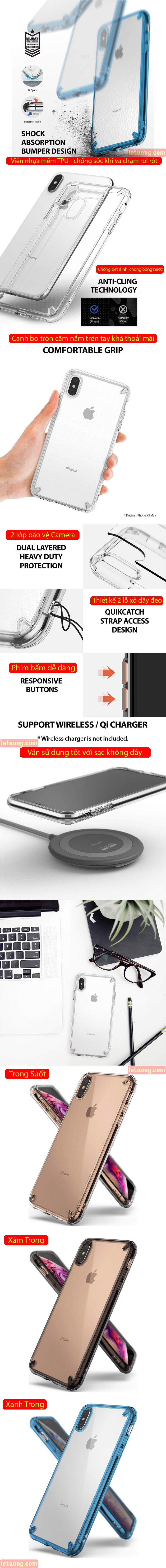 Ốp lưng iPhone Xs Max Ringke Fusion New 2018 trong suốt - chống sốc 1