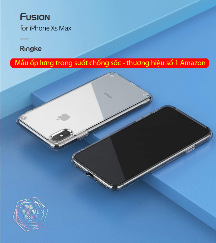 Ốp lưng iPhone Xs Max Ringke Fusion New 2018 trong suốt - chống sốc 5