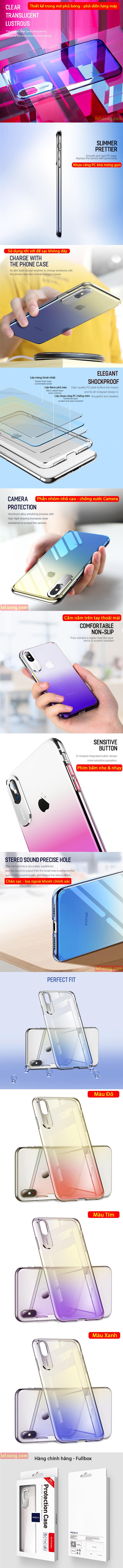 Ốp lưng iPhone Xs Max Rock Gorgeous Color trong suốt - 2 màu sắc 2