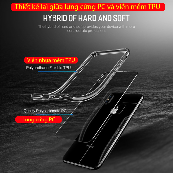 Ốp lưng iPhone Xs Max Rock Pure Series trong suốt viền mềm 1