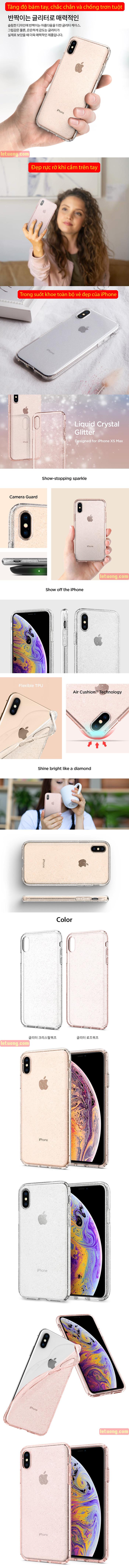 Ốp lưng iPhone Xs Max Spigen Liquid Crystal Glitter kim tuyến ( Hàng USA ) 4