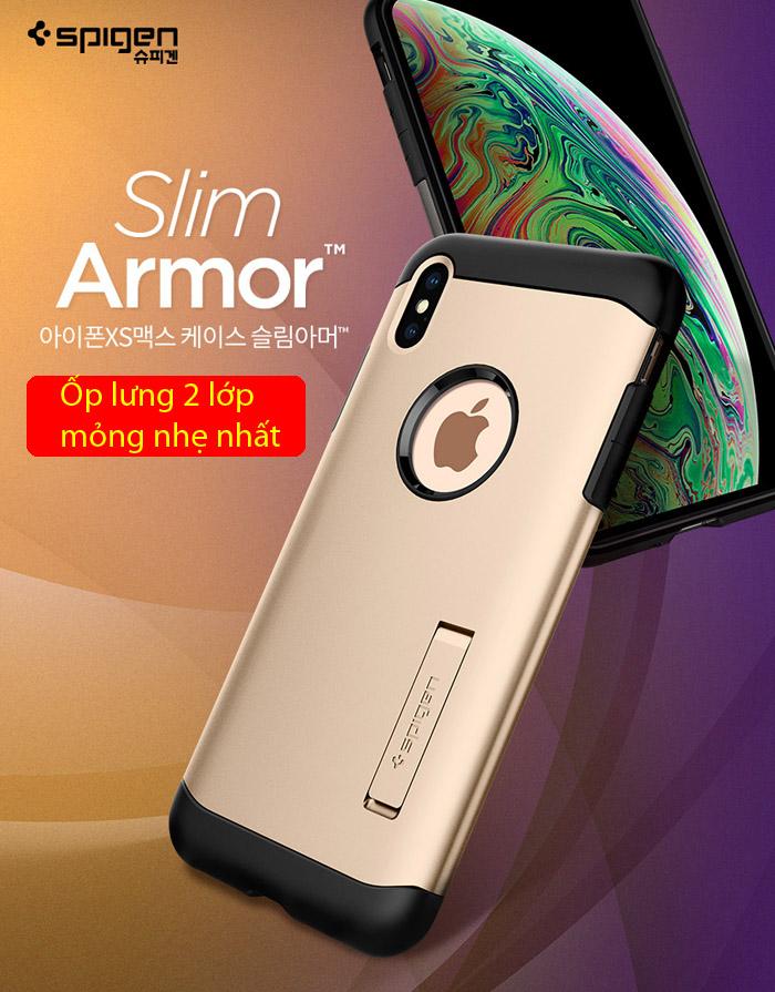 Ốp lưng iPhone Xs Max Spigen Slim Armor chống sốc ( Hàng USA ) 5