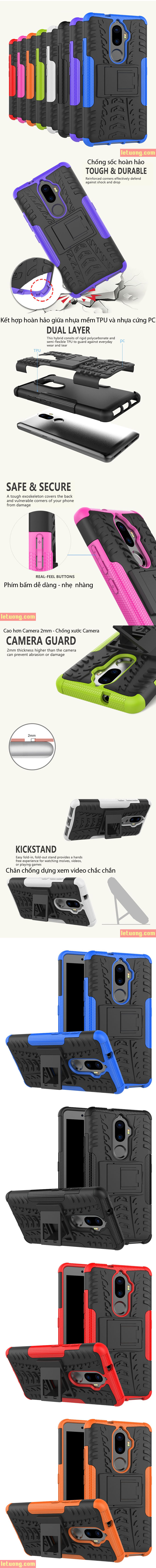 Ốp lưng Lenovo K8 Plus LT Armor Special chống sốc có chân chống 1