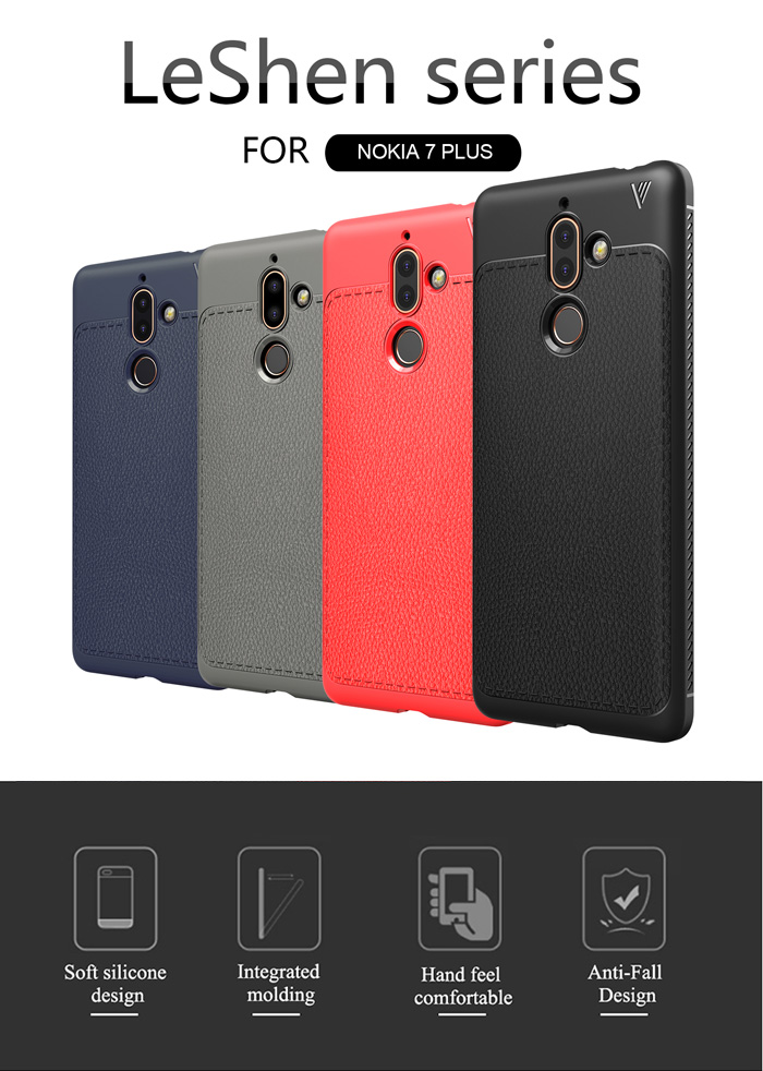 Ốp lưng Nokia 7 Plus Lenuo Leshen Serie vân da sang trọng 1