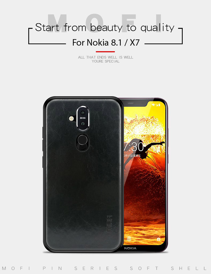 Ốp lưng Nokia 8.1 / X7 2018 Mofi Pin Series vân da - cực đẹp 3