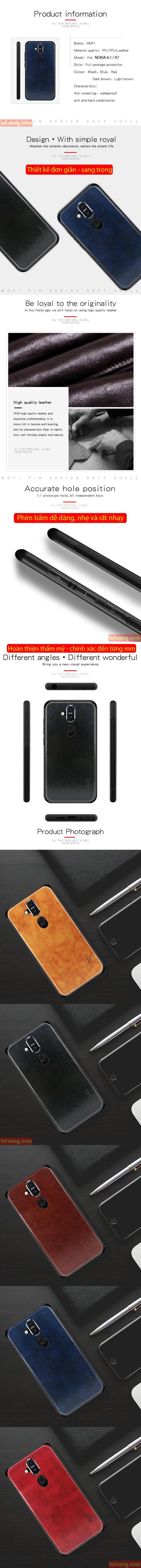 Ốp lưng Nokia 8.1 / X7 2018 Mofi Pin Series vân da - cực đẹp 4