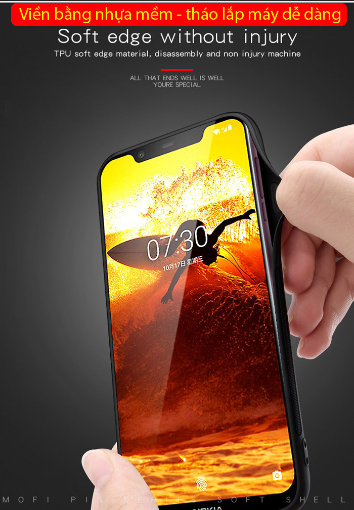 Ốp lưng Nokia 8.1 / X7 2018 Mofi Pin Series vân da - cực đẹp 2
