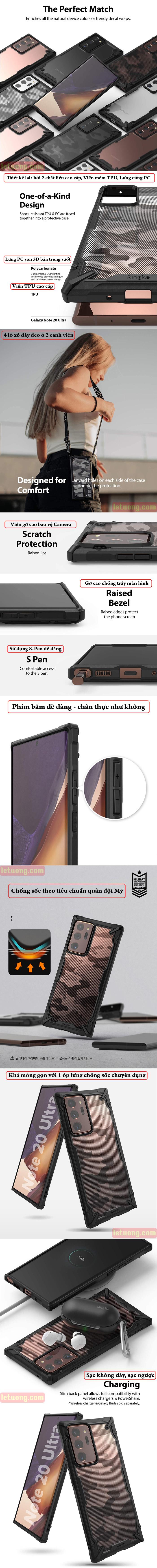 Ốp lưng Samsung Note 20 Ultra / 5G Ringke Fusion X Camo ( từ USA ) 4