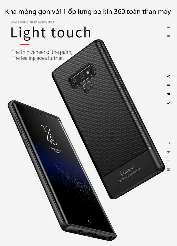 Ốp lưng Galaxy Note 9 Ipaky Carbon Fiber chống vân tay 3