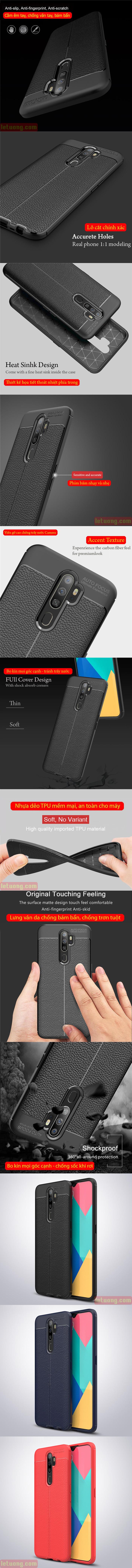 Ốp lưng Oppo A9 2020 LT Leather Design Case vân da - sang trọng 4