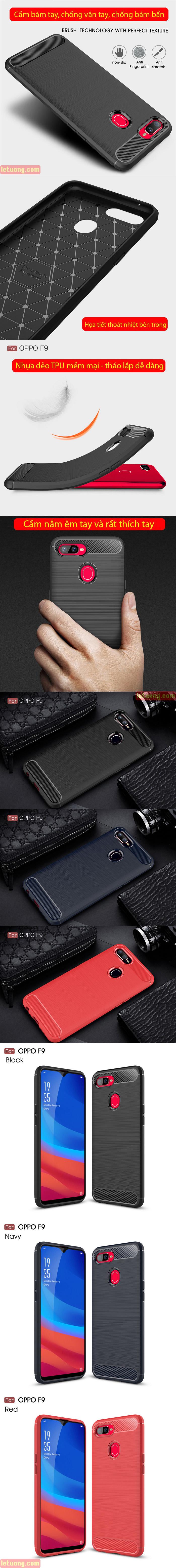 Ốp lưng Oppo F9 Viseaon Carbon Fiber nhựa mềm - chống vân tay 7