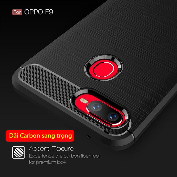 Ốp lưng Oppo F9 Viseaon Carbon Fiber nhựa mềm - chống vân tay 1