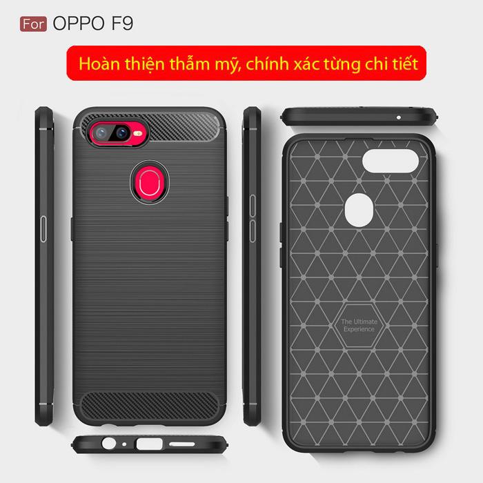 Ốp lưng Oppo F9 Viseaon Carbon Fiber nhựa mềm - chống vân tay 5