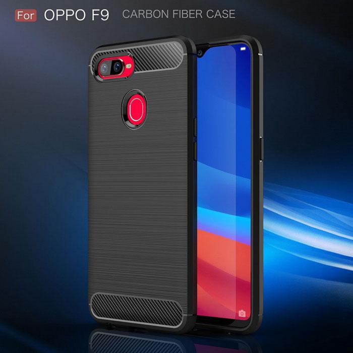 Ốp lưng Oppo F9 Viseaon Carbon Fiber nhựa mềm - chống vân tay 2