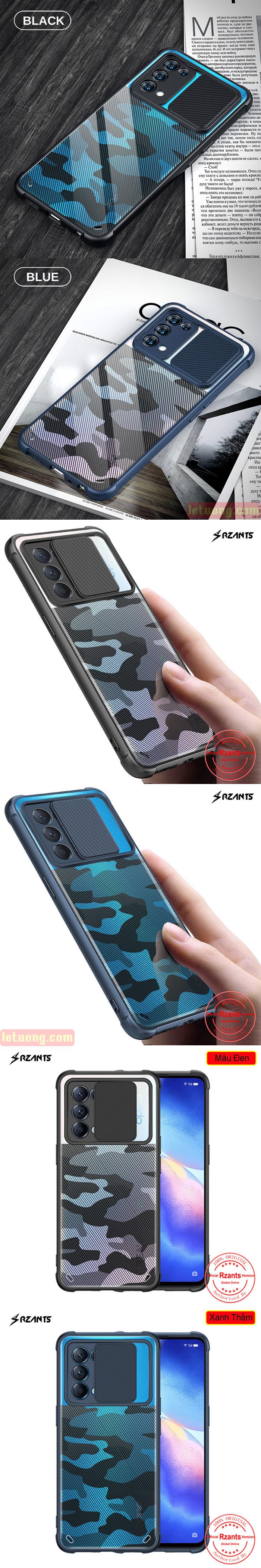 Ốp lưng Oppo Reno 5, Reno5 5G Rzants Camouflage Lens bảo vệ camera 6
