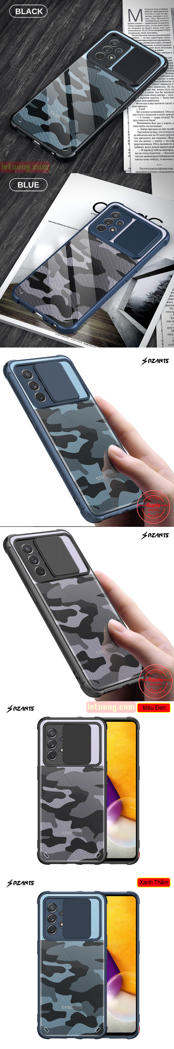 Ốp lưng Samsung A52, A52 5G Rzants Armor Camo bảo vệ camera 5