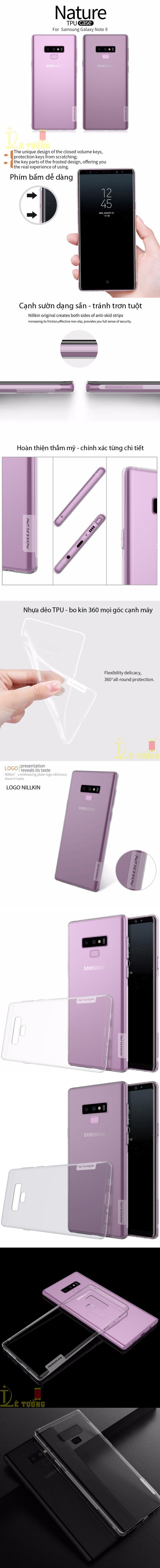 Ốp lưng Galaxy Note 9 Nillkin Nature TPU nhựa dẻo, trong suốt 0,6mm 3