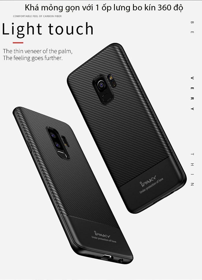 Ốp lưng Galaxy S9 Plus Ipaky Carbon Fiber chống vân tay 3