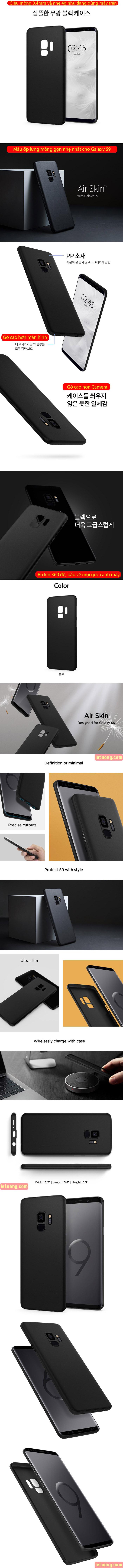 Ốp lưng Galaxy S9 Spigen Air Skin 0,4mm mỏng nhẹ nhất từ USA - tặng dán lưng Carbon 6