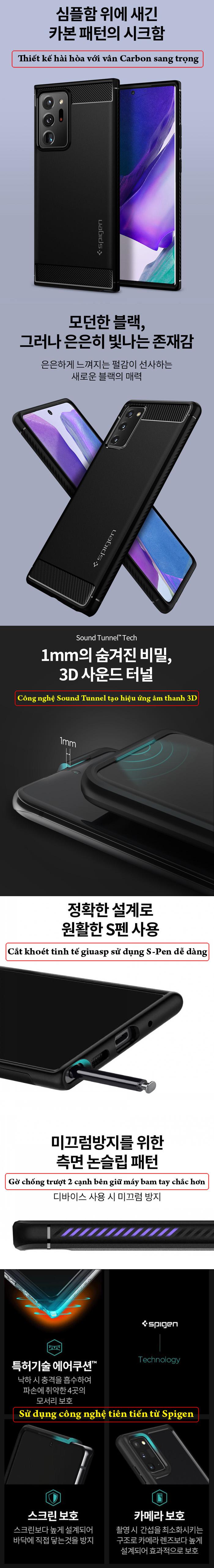 Ốp lưng Galaxy Note 20 Ultra / 5G Spigen Rugged Armor ( Hàng Mỹ ) 7