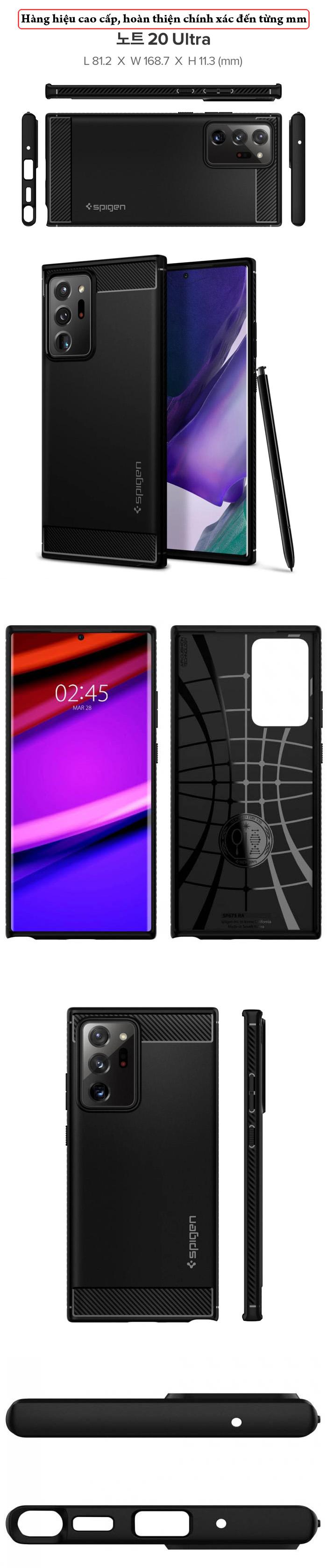 Ốp lưng Galaxy Note 20 Ultra / 5G Spigen Rugged Armor ( Hàng Mỹ ) 8