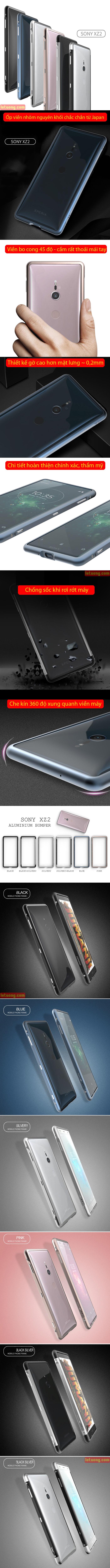 Ốp viền Sony Xperia XZ2 Sword Metal nhôm 6063 nguyên khối từ Japan 4