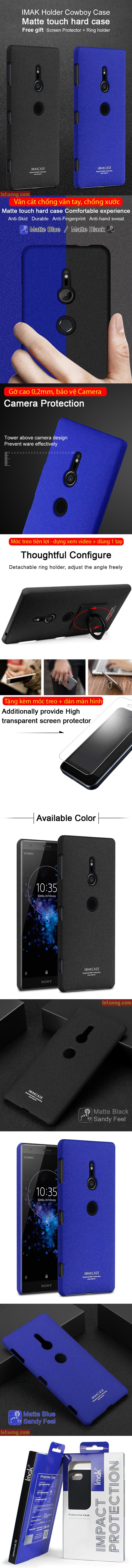 Ốp lưng Sony XZ2 Imak Cowboy vân cát chống vân tay + móc treo 3