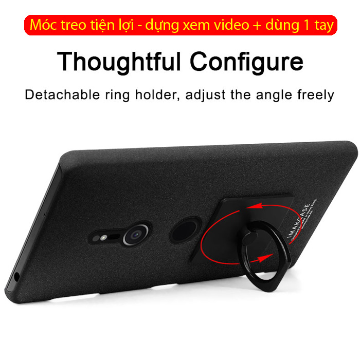 Ốp lưng Sony XZ2 Imak Cowboy vân cát chống vân tay + móc treo 2