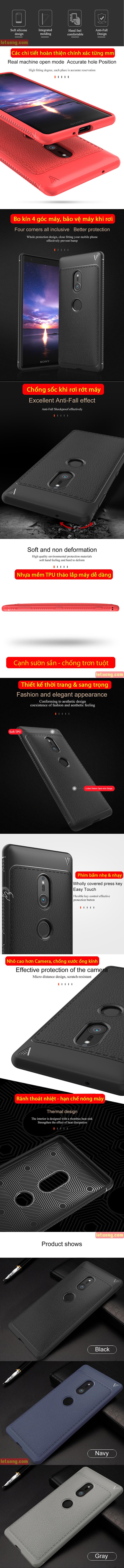 Ốp lưng Sony XZ2 Lenuo Leshen Serie vân da sang trọng - chống sốc 5