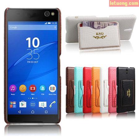 Ốp lưng Sony C5 Ultra KSQ Wallet lưng da, kèm ví và chân chống