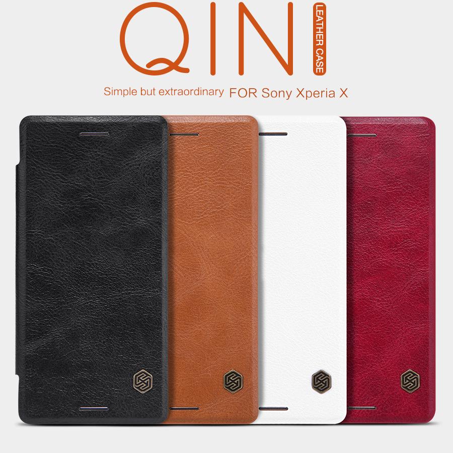 Bao da Sony Xperia X Nillkin Qin Leather Case vân gỗ sang trọng