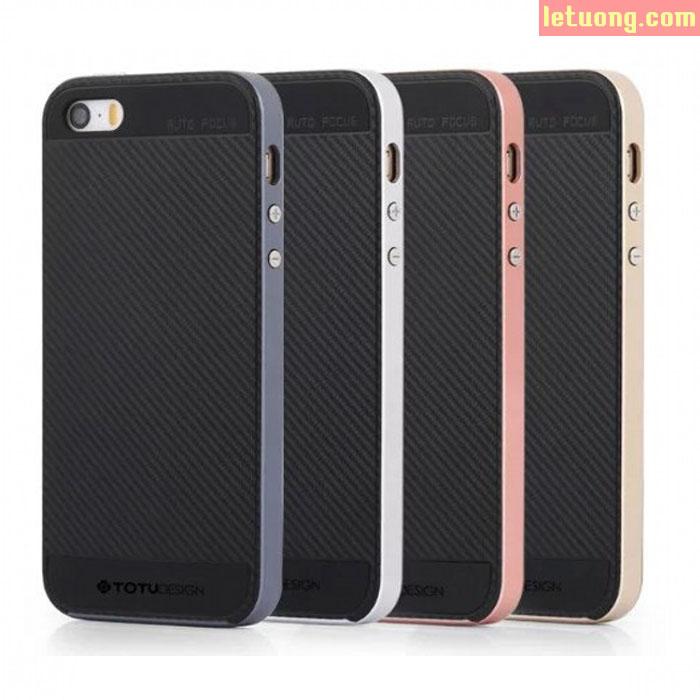 Ốp lưng Iphone SE/5/5S Totu Neo Carbon 2 lớp viền giả kim loại