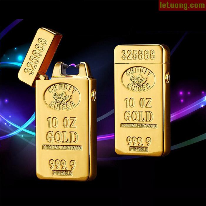 Bật lửa điện tử mạ vàng gold 9999 sang trọng sạc điện như điện thoại