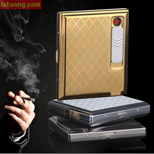 Hộp đựng thuốc lá kiêm bật lửa điện tử hãng Sdin 2 trong 1
