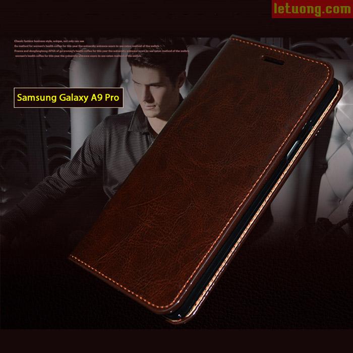 Bao da Galaxy A9 Pro Haoyue Wallet da thật + Kính cường lực
