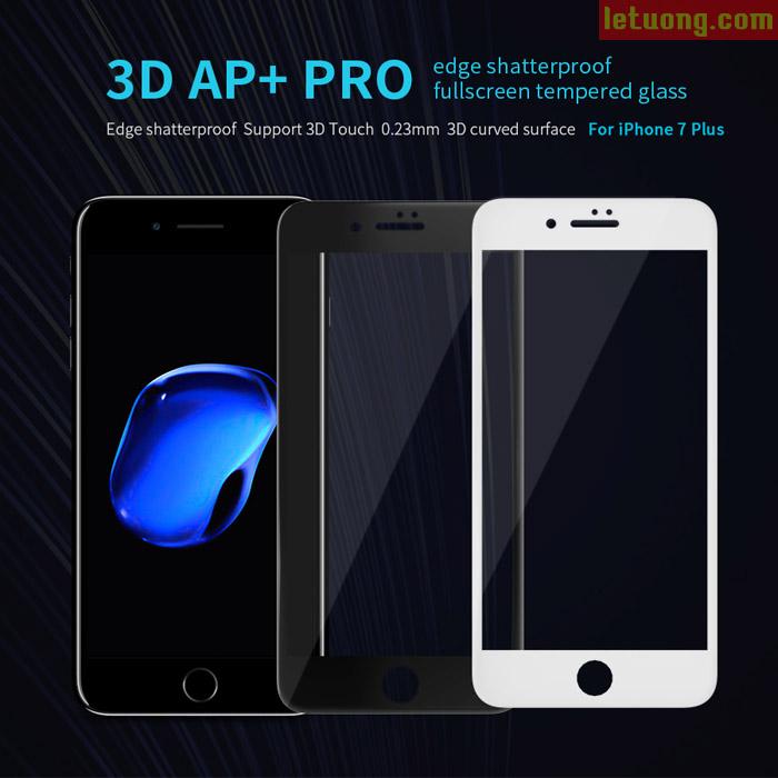 Kính cường lực full màn hình Iphone 7 Plus, Iphone 8 Plus Nillkin 3D AP+ Pro 0,2mm