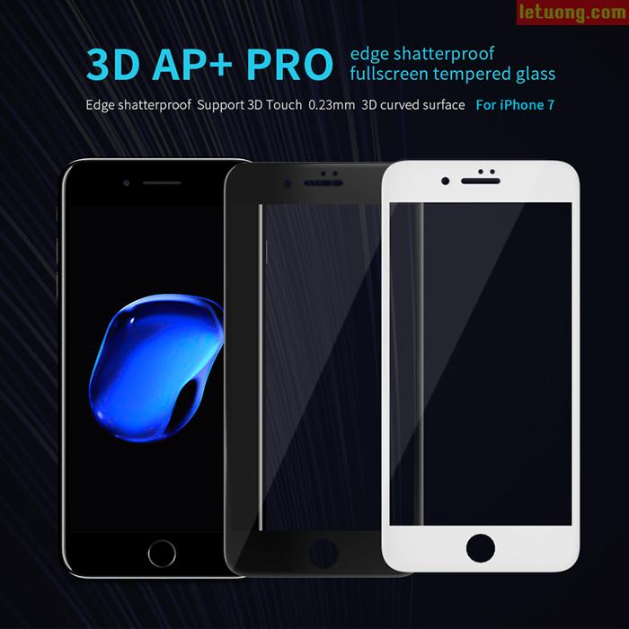 Kính cường lực FULL màn hình Iphone 8, Iphone 7 Nillkin 3D AP+ Pro 0,2mm
