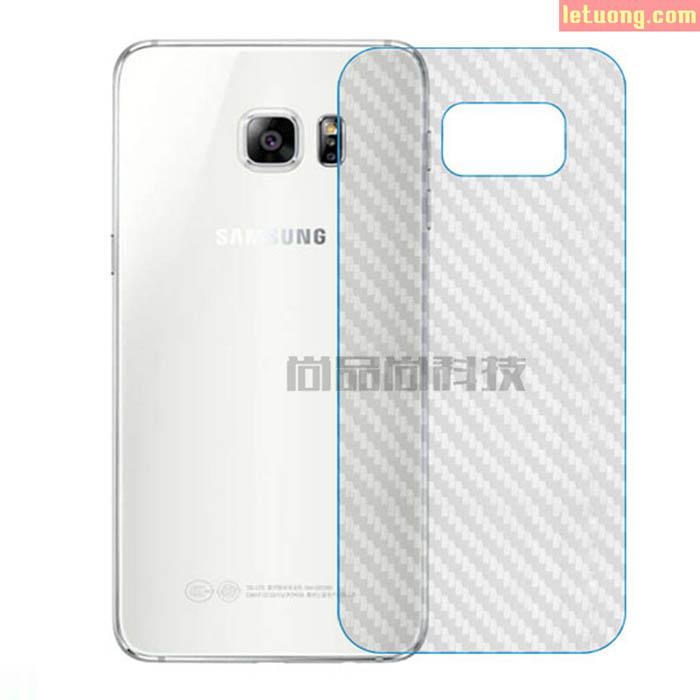 Miếng dán full mặt lưng Galaxy S7 vân Carbon trong suốt