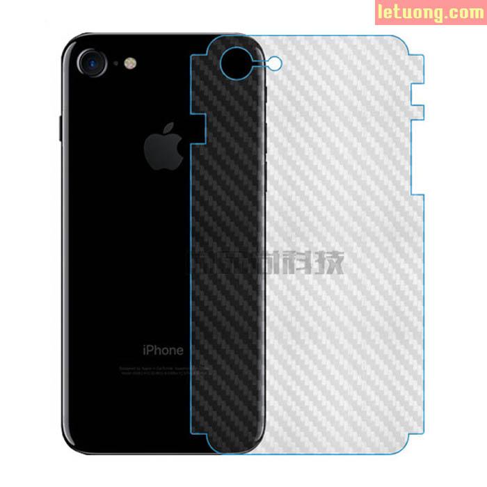 Miếng dán full mặt lưng viền Iphone 8, Iphone 7 vân Carbon trong suốt