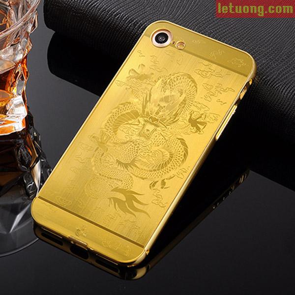 ốp lưng Iphone 8, Iphone 7 LT Metal 24K In Rồng 3D độc đáo, sang trọng
