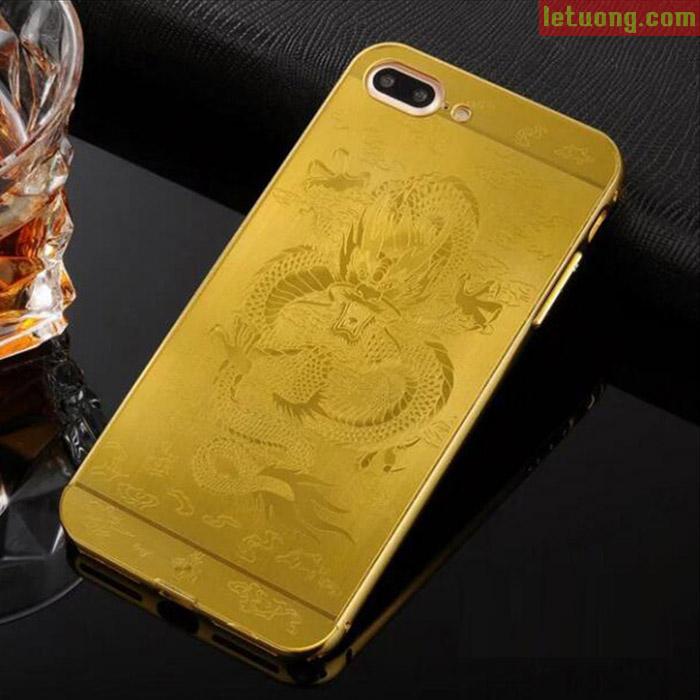 ốp lưng Iphone 7 Plus, Iphone 8 Plus LT Metal In Rồng 3D độc đáo, sang trọng