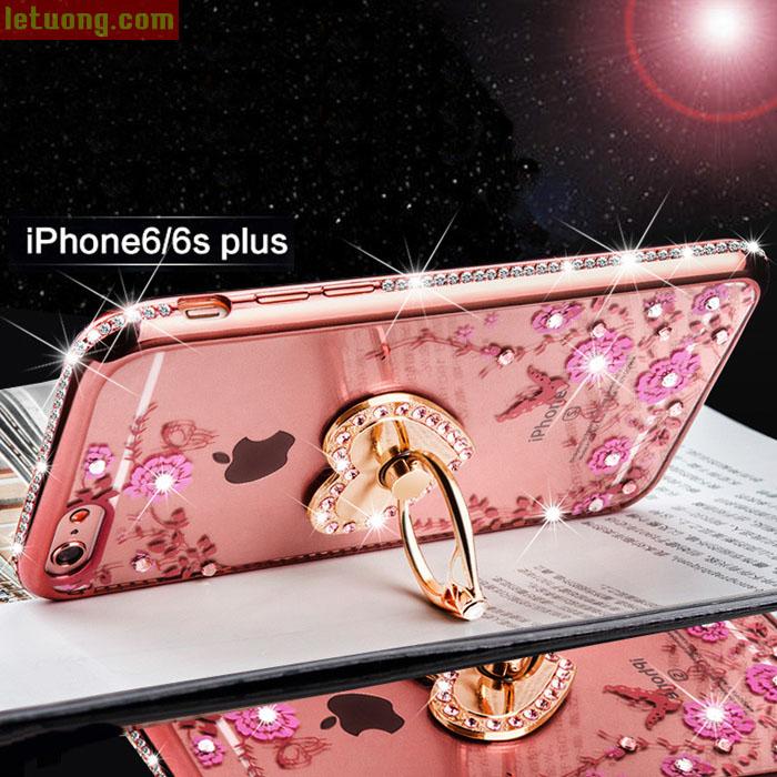 Ốp lưng Iphone 6S Plus/6 Plus TPU đính đá + móc treo + kính cường lực