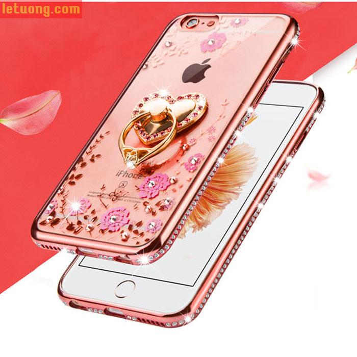 Combo ốp lưng Iphone 6/6S LT TPU đính đá + móc treo + kính cường lực