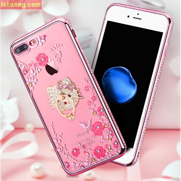 Combo ốp lưng Iphone 7 Plus, 8 Plus LT TPU đính đá + móc treo + kính cường lực
