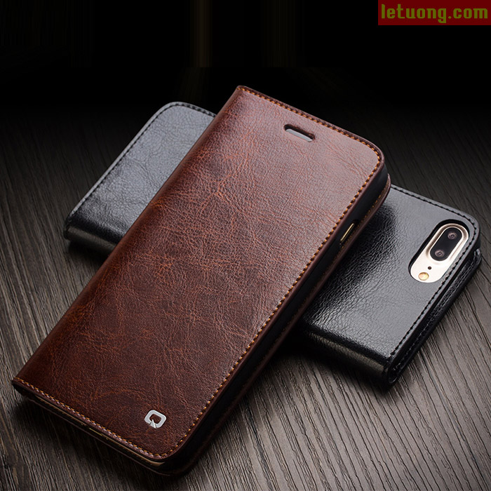 Bao da Iphone 7 Plus, 8 Plus Qialino Classic Leather Wallet Hanmade