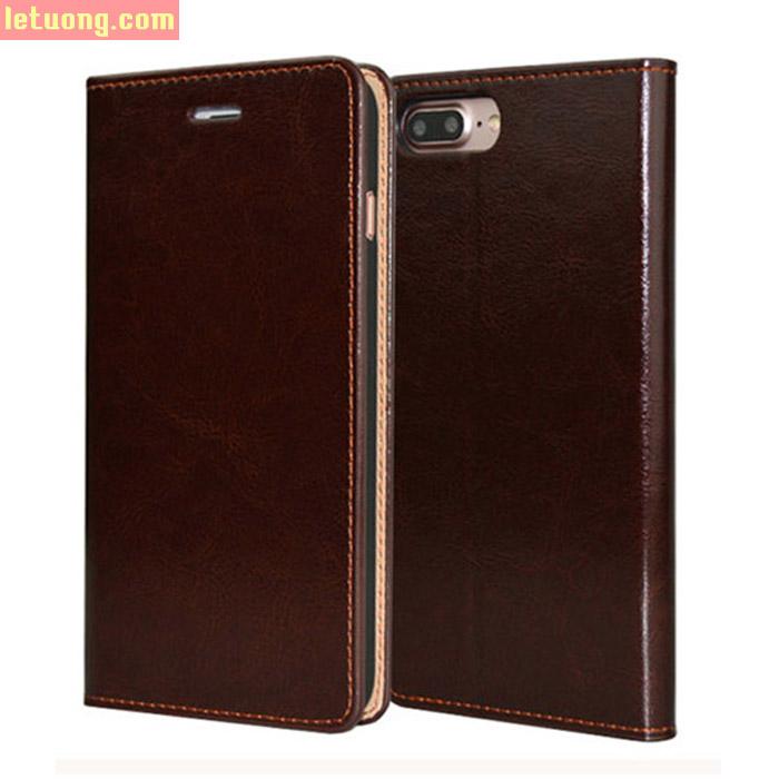 Bao da Iphone 7 Plus, 8 Plus Haoyue Wallet da thật Hanmade + kính cường lực